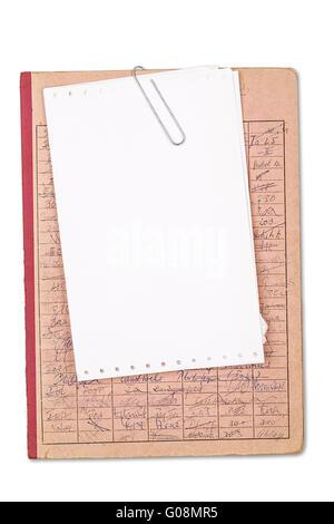 Vintage red record avec une feuille de papier vierge, isolated on white Banque D'Images