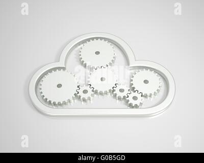 Cloud Computing métallique icône sur fond lumineux Banque D'Images