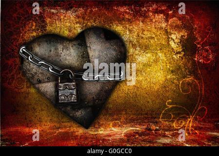 Carte de St Valentin avec coeurs de fer dans le style grunge Banque D'Images