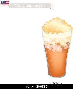 La cuisine malaisienne, Teh Tarik ou Ice Tea traditionnel servi avec du lait. L'un des plus populaires Verre en Banque D'Images