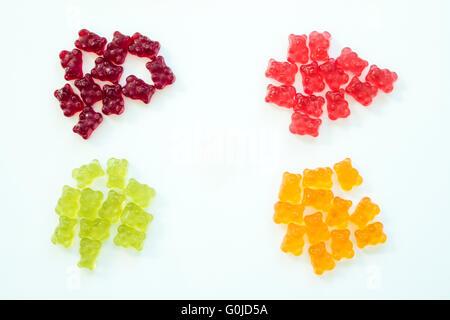 Détail de quatre groupes d'ours gommeux commandées par les couleurs avec fond isolé