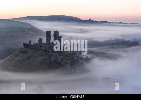 Château de Corfe à Misty Banque D'Images