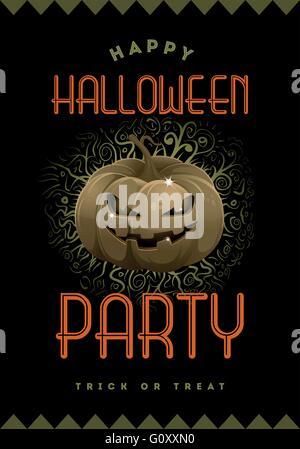 Halloween Party vecteur modèle de conception de l'affiche avec Jack'O Lantern. Banque D'Images