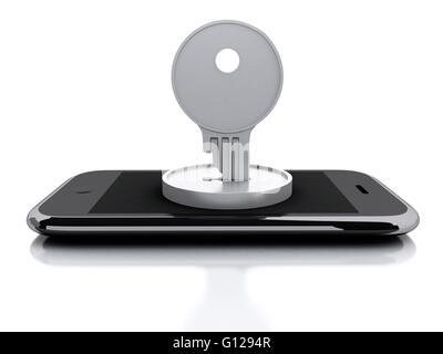 Moteur de rendu 3d image. Verrouillage du Smartphone avec clé. Concept de sécurité. Isolé sur fond blanc. Banque D'Images