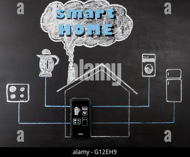 Smart house concept dessin à la main sur le tableau. Contrôle de téléphone mobile home appliances. Horizontal image Banque D'Images