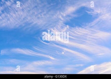 Cirrus nuages contre ciel bleu sur une journée d'été. Banque D'Images