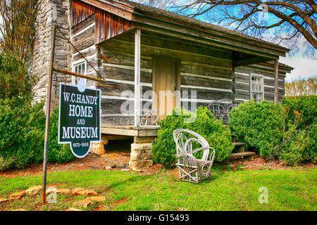 """La cabane en bois, berceau de W.C. Pratique, le """"père du Blues', à Florence, Alabama Banque D'Images"""