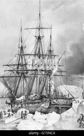 Le navire de l'explorateur français Dumont d'Urville (1790-1842) coincé dans la banquise de l'Antarctique en 1838 Banque D'Images