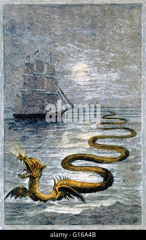 Sans date d'une gravure sur bois couleur main serpent de mer par Hans Egidius. Les monstres marins sont des mer Banque D'Images