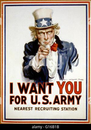 Affiche pour 'Je veux que vous pour l'ARMÉE AMÉRICAINE' montre l'Oncle Sam pointant son doigt vers le visualiseur Banque D'Images