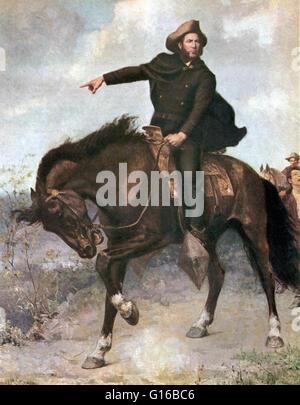 Le général Sam Houston à la bataille de San Jacinto en 1836, Peinture de S. Thomas Seymour. La bataille de San Jacinto, Banque D'Images