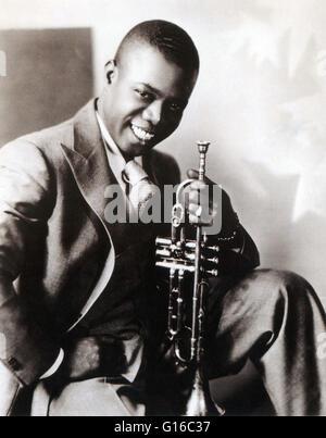Armstrong vers 1930. Louis Armstrong (4 août 1901 - 6 juillet 1971) était un trompettiste de jazz américain et chanteur. L'un des plus célèbres musiciens de l'Harlem Renaissance il est né dans une pauvre famille de la Nouvelle Orléans. Il a commencé à effectuer avec les bandes dans les petites