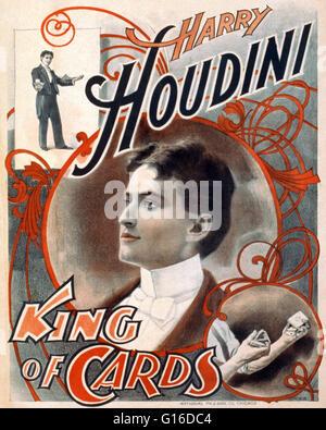 Intitulé: 'Harry Houdini, le roi de cartes' lithographie affiche créée par l'impression et la gravure National Banque D'Images