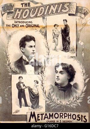 """Intitulé: """"l'Houdini, Harry, Bessie présentant le seulement et original' lithographie affiche créée par Liebler Banque D'Images"""