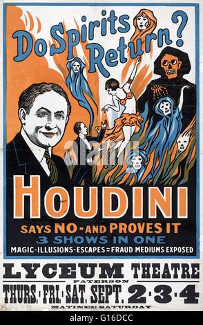 """Intitulé: """"o spirits retour? Houdini dit non - et il s'avère 3 montre en un: magie, illusions, s'échappe, la Banque D'Images"""