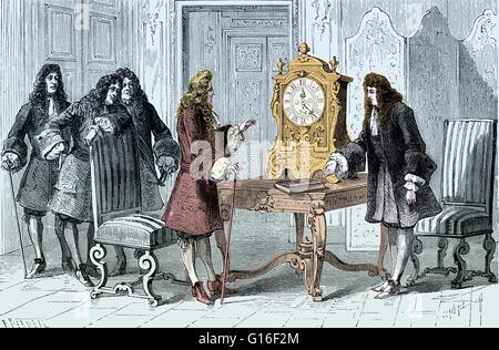 Huygens présente son horloge à pendule de Louis XIV. Christiaan Huygens (14 avril 1629 - 8 juillet 1695) était un Banque D'Images