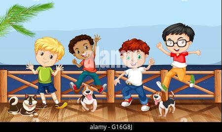 Petits garçons et leurs chiens de compagnie illustration Banque D'Images