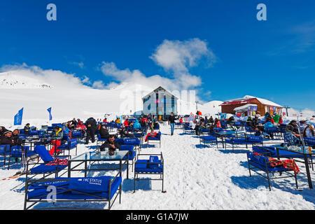 L'Eurasie, région du Caucase, la Géorgie, la station de ski de Gudauri, restaurant de montagne Banque D'Images