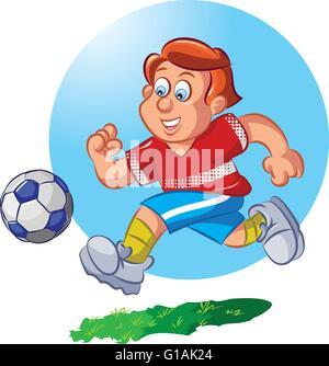 Vector illustration of boy playing football Banque D'Images