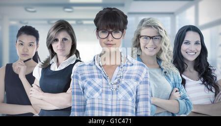 Image composite de jolie femme dans les verres Banque D'Images