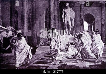 Assassinat de Jules César était un complot ourdi par les sénateurs romains; dirigé par Gaius Cassius Longinus et Banque D'Images