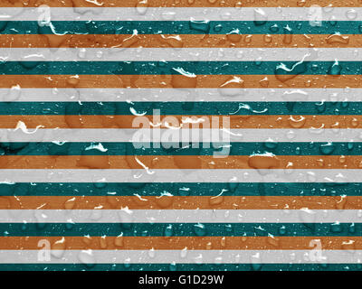 Gouttes d'eau sur bleu, blanc et orange la surface métallique Banque D'Images