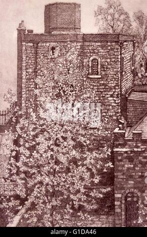 19e siècle dessin de la jewel Tower. La Jewel Tower est un 14e siècle élément survivant de la Royal Palace of Westminster, Banque D'Images