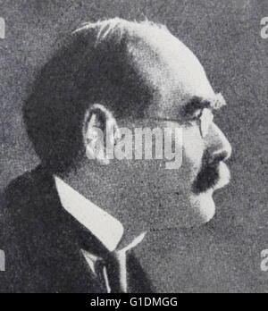 Portrait photographique de Joseph Rudyard Kipling (1865-1936) un journaliste, écrivain, poète, et écrivain. En date Banque D'Images