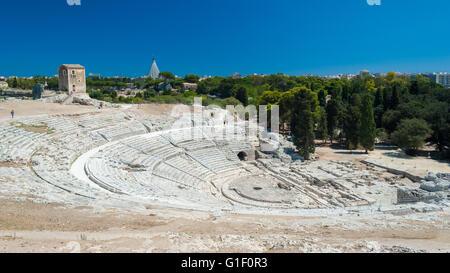 Le théâtre grec de Syracuse (Sicile) Banque D'Images