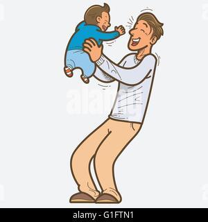 Vector illustration de père et fils