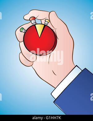 Vector illustration of a hand holding timer camembert Banque D'Images