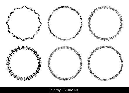 Collection de tables rondes des cadres décoratifs et des étiquettes avec des lignes, des formes géométriques symétriques Banque D'Images