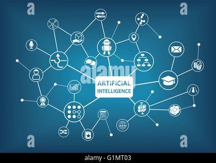 L'Intelligence Artificielle (IA) infographic vector illustration Banque D'Images