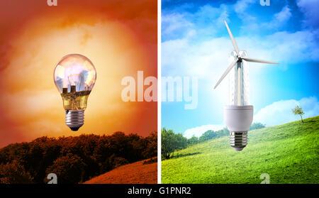 Comparaison entre différents types de paysage sur l'ampoule du feu arrière-plan. Les émissions de CO2 et la préservation Banque D'Images