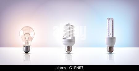 Comparaison entre différents types de lumière ampoule sur fond blanc. Composition horizontale. Vue avant Banque D'Images