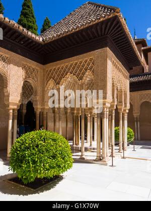 Arabesque architecture maure, Cour des Lions, le Patio de los Leones, Alhambra de Grenade nasride, province, Andalousie Banque D'Images