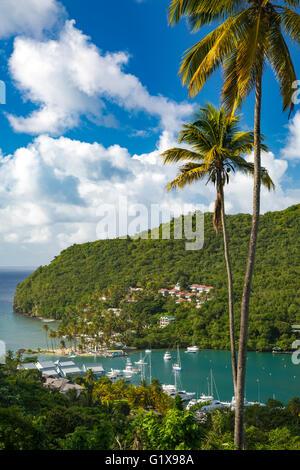 Portrait de Marigot Bay, Sainte-Lucie, West Indies Banque D'Images