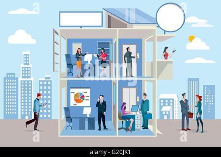 Immeuble de bureaux avec des personnes travaillant dans différents ministères.