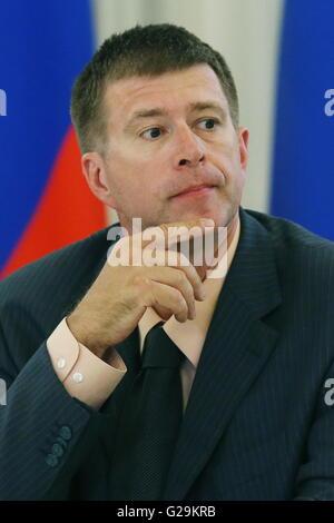 Moscou, Russie. 27 mai, 2016. Le ministre de la Justice de la Russie Alexander Konovalov lors d'une réunion avec Banque D'Images