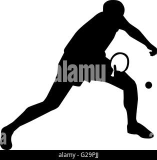Ping pong player silhouette Banque D'Images