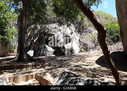 Rocher en forme de crâne, sur la route de Devil's Bay, les Bains, Virgin Gorda, îles Vierges britanniques, les Caraïbes Banque D'Images