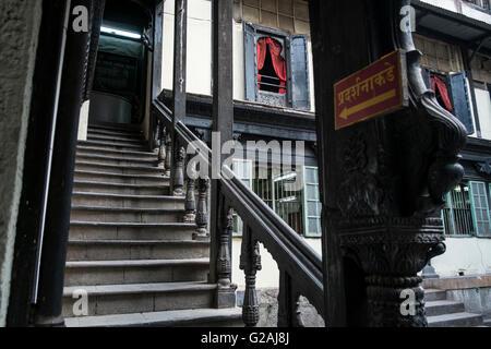 Escalier dans le Vishrambaug l'AMA à Pune, Maharashtra, Inde. Banque D'Images
