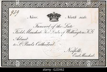 Duc de Wellington, Invitation, 1852 Funérailles pour la carte de funérailles d'état de l'Victor de Waterloo à la Banque D'Images