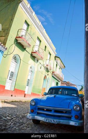 Street view vertical à Trinidad, Cuba. Banque D'Images