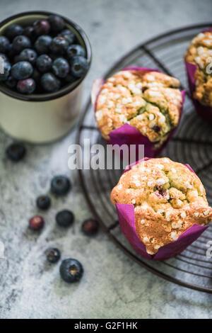 Petits gâteaux faits maison avec des fruits de saison sur le bac de refroidissement Banque D'Images