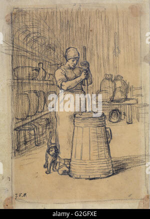 Jean-François Millet - Étude de femme le barattage du beurre - Musée des beaux-Arts, Boston Banque D'Images