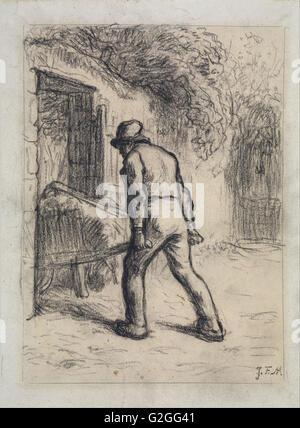 Jean-François Millet - Étude pour l'homme avec une brouette - Musée des beaux-Arts, Boston Banque D'Images