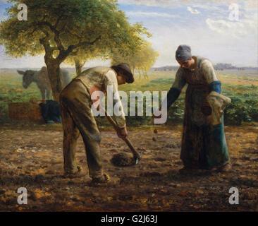 Jean-François Millet - planteuses de pommes de terre - Musée des beaux-Arts, Boston Banque D'Images