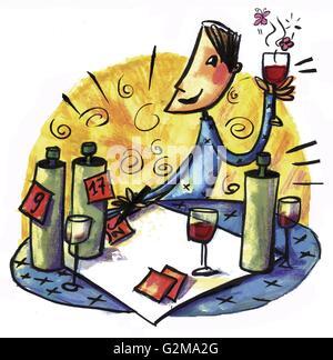 Dégustation de vin de l'homme Banque D'Images