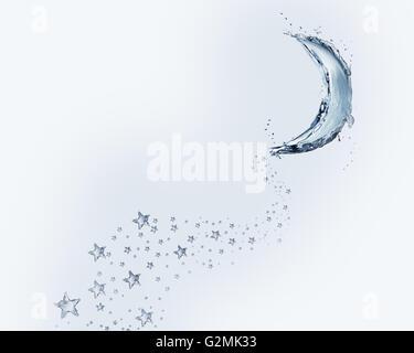 Un croissant bleu fait d'eau avec une traînée d'étoiles. Banque D'Images